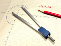 Compass and pencil. Technical drawing tools. Digital illustration Royalty Free Stock Photos