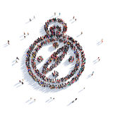 Compass people 3d. Large and creative group of people gathered together in the form of a compass. 3D illustration,  against a white background. 3D-rendering Royalty Free Stock Photos