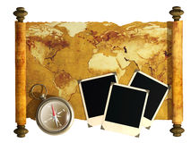 Compass, photos and antique map Stock Photography
