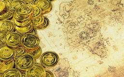 Compass and pirate golden coin on a old world map. A compass and pirate golden coin on a old world map stock image