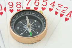 Compass on playing card Royalty Free Stock Photography