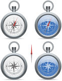 Compass with pointer. Modern (contemporary) compass with a needle and rose wind face, in white and blue royalty free illustration