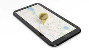 Compass pointer on tablet screen with map Royalty Free Stock Images