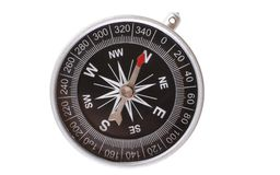 Compass pointing north. Vintage type silver compass with needle pointing North isolated on white background Royalty Free Stock Photography