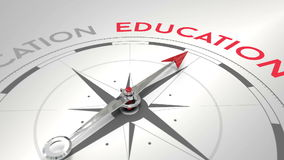 Compass pointing to education stock footage