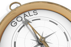 Compass pointing to goals Royalty Free Stock Photography