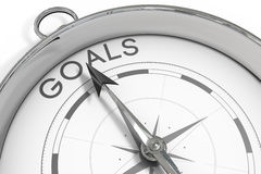 Compass pointing to goals Royalty Free Stock Images