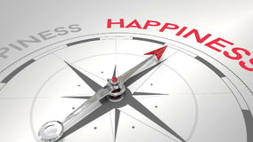 Compass pointing to happiness stock video