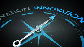 Compass pointing to innovation. Digital animation of Compass pointing to innovation royalty free illustration