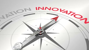 Compass pointing to innovation. Digital animation of Compass pointing to innovation stock illustration