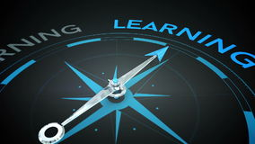 Compass pointing to learning stock video