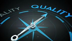 Compass pointing to quality