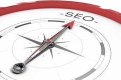 Compass pointing to SEO Royalty Free Stock Photos