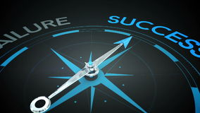 Compass pointing to success