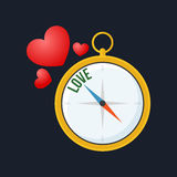 Compass points to love. Flat design. Stock Photo