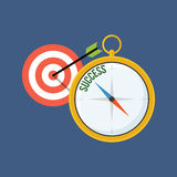 Compass points to success. Flat design. Royalty Free Stock Photo