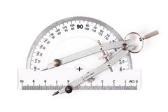 Compass on protractor. Compass and protractor on white Royalty Free Stock Photography