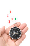 Compass and pushpin Stock Image