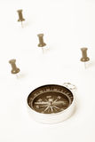 Compass and pushpin. Close up shot, business concept Royalty Free Stock Photography