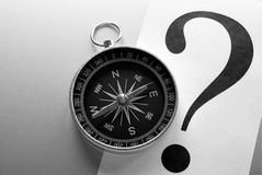 Compass and question mark Stock Photography