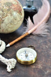 Compass and quill Royalty Free Stock Image