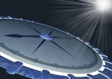 Compass and rays. Night. Compass 3d and rays Royalty Free Stock Photography
