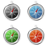 Compass red, blue, black and green. Black, blue, green and orange compass illustration on a white background Royalty Free Stock Photos