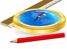 Compass and red pencil Royalty Free Stock Photography