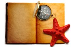 Compass and red seastar Royalty Free Stock Images