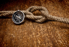 Compass and rope Stock Image