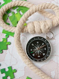 Compass and rope Stock Photo