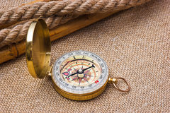 Compass with a rope Royalty Free Stock Photography