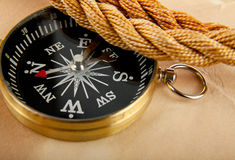 Compass and the rope Royalty Free Stock Photos
