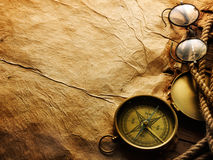 Compass, rope and glasses Stock Photography