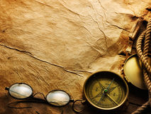 Compass, rope and glasses royalty free stock photos
