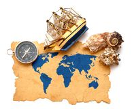 Compass, rope and model classic boat Royalty Free Stock Image