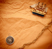 Compass, rope and model classic boat Stock Image