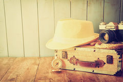 Compass, rope old camera and fedora hat. explorere concept Stock Images
