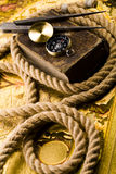 Compass & Rope & Old map Royalty Free Stock Photo