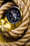 Compass & Rope and Old map Royalty Free Stock Photo