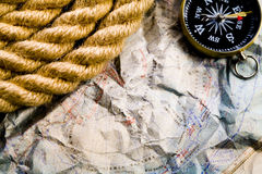 Compass & Rope & Old map Royalty Free Stock Images