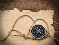Compass, rope and old paper Royalty Free Stock Image
