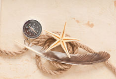 Compass, rope and starfish Stock Photo