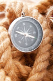 Compass and rope in travel   concept Stock Image
