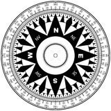 Compass rose. Black and white vector illustration Royalty Free Stock Images