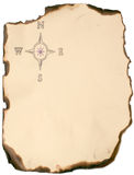 Compass rose. Burned paper edge with compass rose Stock Image