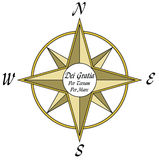 Compass Rose. Traditional Compass Rose usually found on a map, tastefully done in shades of yellow. The four cardinal points have an additional golden border Stock Images