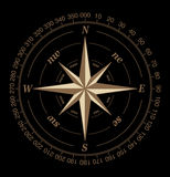 Compass rose. Isolated on black Stock Image