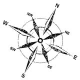 Compass rose. Distressed grunge compass rose over white background Stock Photography
