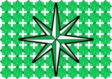 Compass rose on abstract green background Royalty Free Stock Photo